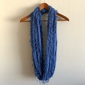 Love blue shaggy circle infinity scarf